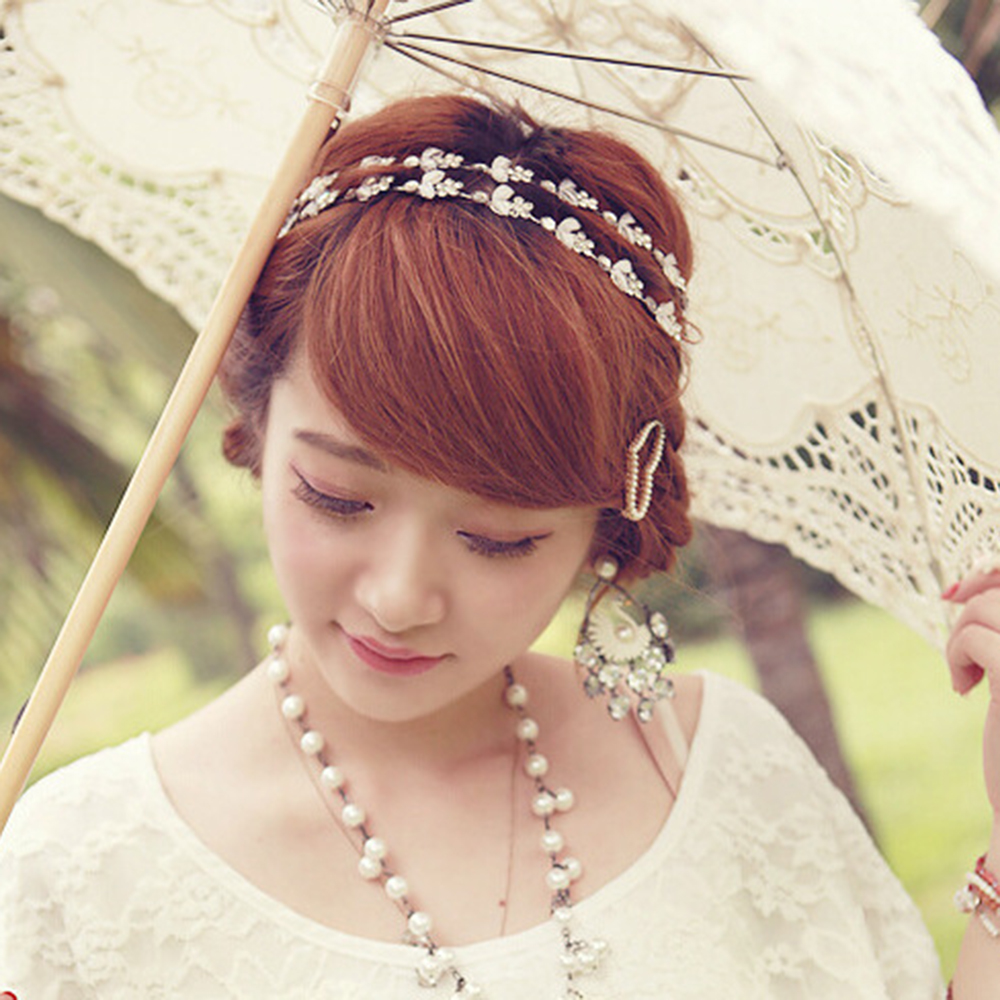 Wedding Hairstyle With Headband: Lady Elastic Rhinestone Headbands Wedding Bridal Flower