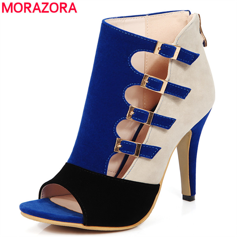 MORAZORA Plus size 33-46 new high quality gladiator sandals women high heels summer pump open toe with buckle party shoes woman summer women leather high heeled shoes sandals rhinestone pump sandals ladies open toe slippers plus size 33 41