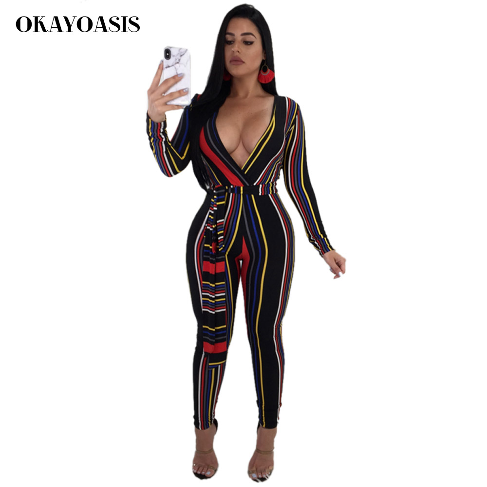 Women Print Bodycon Long Pants Deep V Neck Jumpsuits Rompers