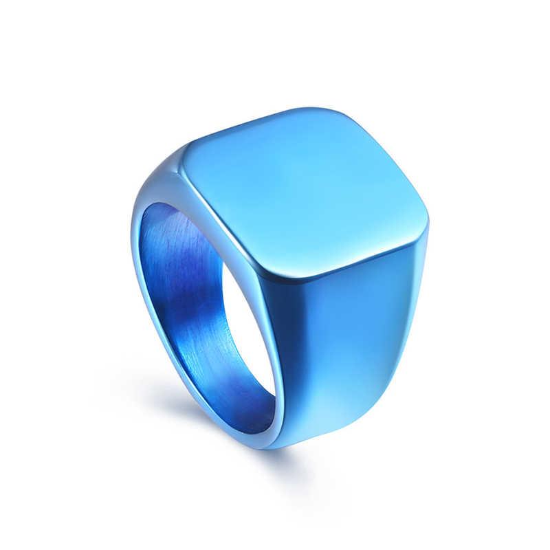 ที่มีคุณภาพสูง2018ใหม่สแตนเลสสีดำแหวนผู้ชายทั้งหมด-กลอสสแควร์ที่เป็นของแข็งไทเทเนียมคลาสสิกแหวนแต่งงานหมั้นเครื่องประดับ