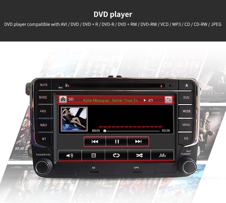 ᑎ‰2 Din 7 pantalla táctil del coche DVD con navegación GPS para VW ...