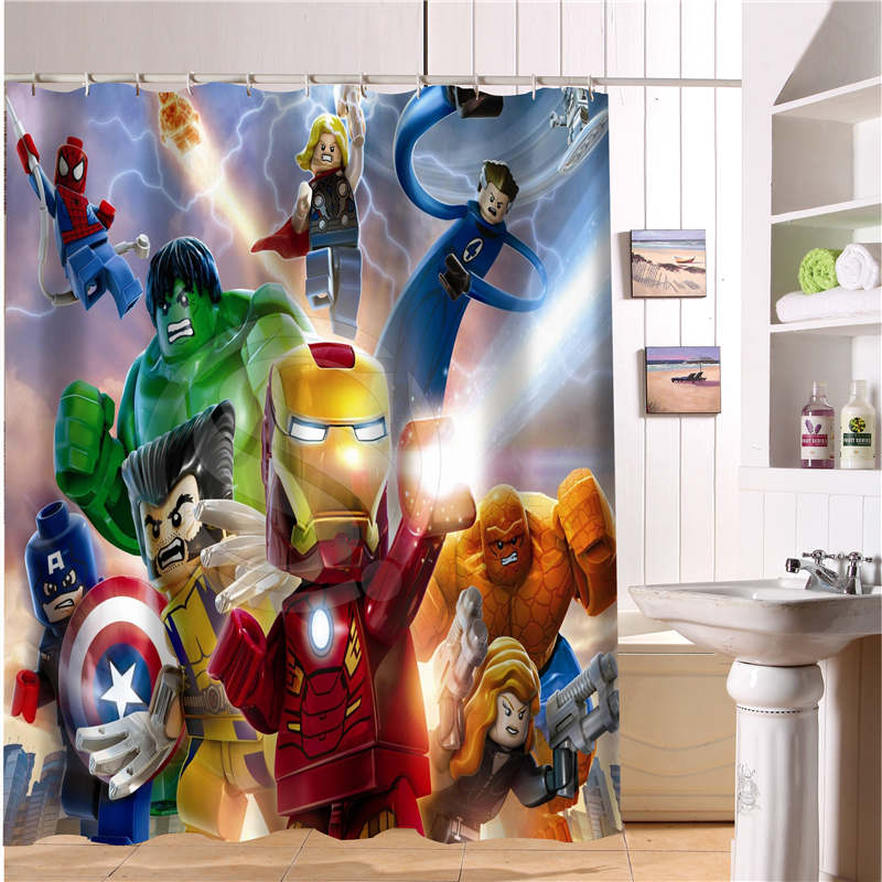 Hot Sale Custom Lego Batman Trinity joker Fabric Modern Shower Curtain bathroom Waterproof Free Shipping