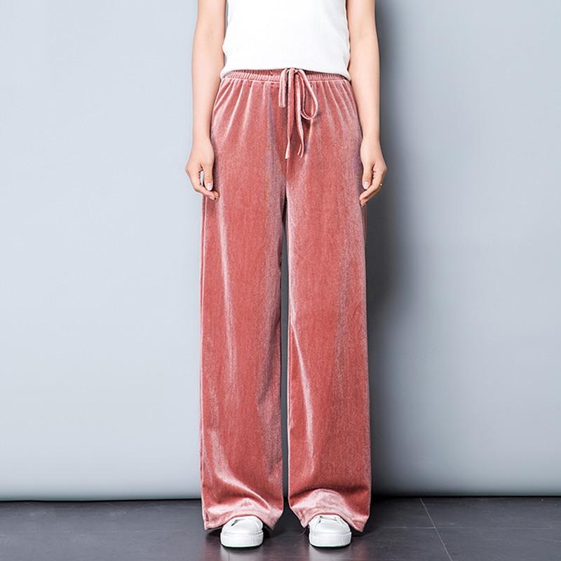 Autumn Spring Pleuche Women Pants 2018 High Quality Lace-Up Waist Wide Leg Trouseres And Ladies Casual High Waist Sweatpants 5