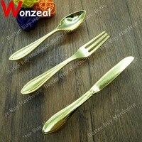 Hole CC 76mm Golden Knife Fork Spoon handle knobs Kitchen Cabinet Handles Cupboard Handles Closet Dresser Handles Drawer Pulls