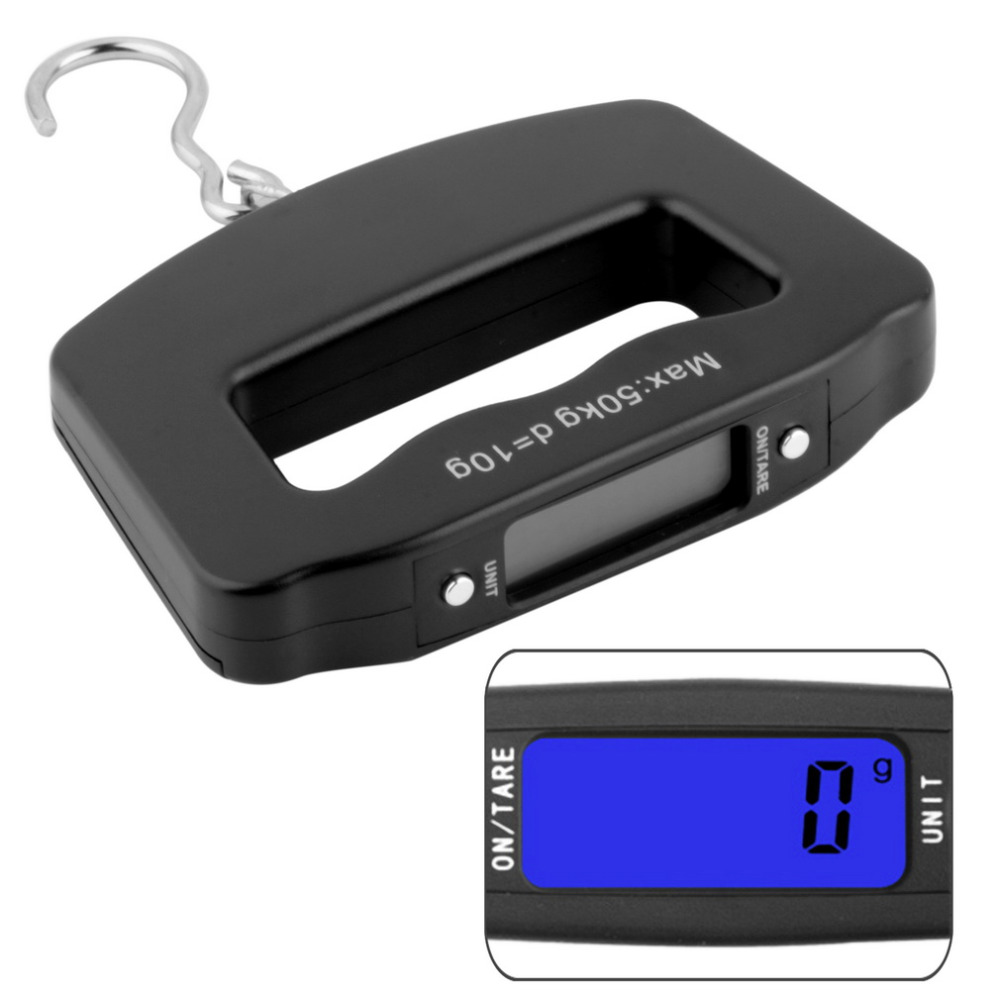 2017 New Arrival 50Kg/10g LCD Screen Digital Electronic Portable Hanging Luggage Weight Wide Hook Scale with Blue Backlight