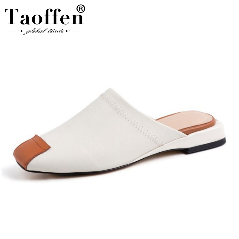 TAOFFEN Daily Real Leather Mixed Color Young Sandals Party Summer Vacation Beach Shoes Women Suit Club