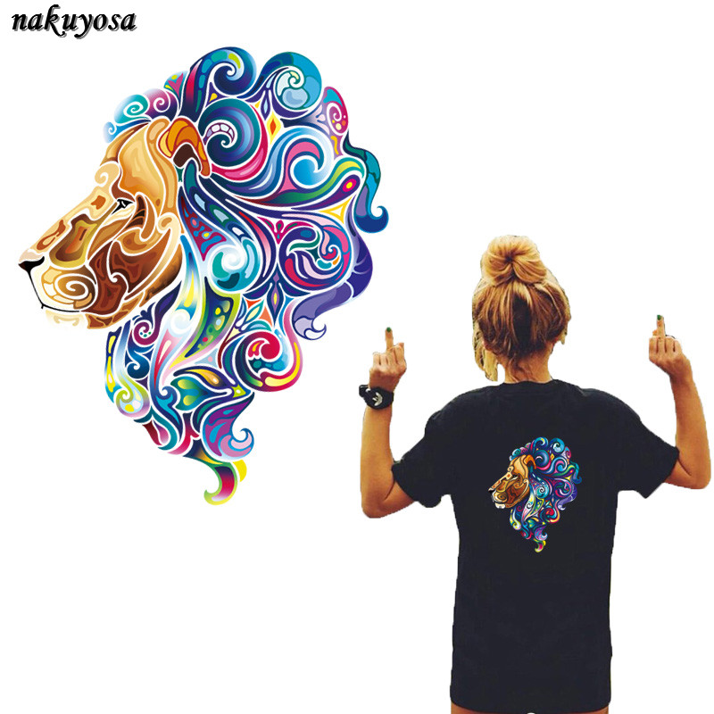 Trendy Fashion colorful Lion Patches Iron On Patches For Clothing A-level Washable Sticker Christmas Gift For Girls Boys 27*22CM