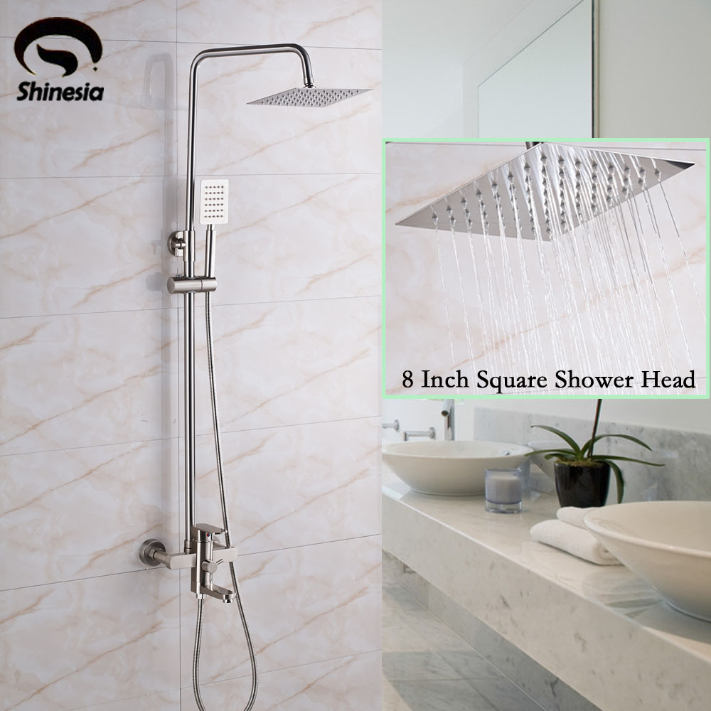 Brushed Nickel 8 Inch Shower Head Bathroom Shower Faucet Bathtub Spout Mixer Tap With Hand Shower