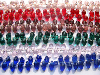 5strands 6x12 8x15mm Crystal like gorgous drop teardrop faceted multicolor jewelry beads