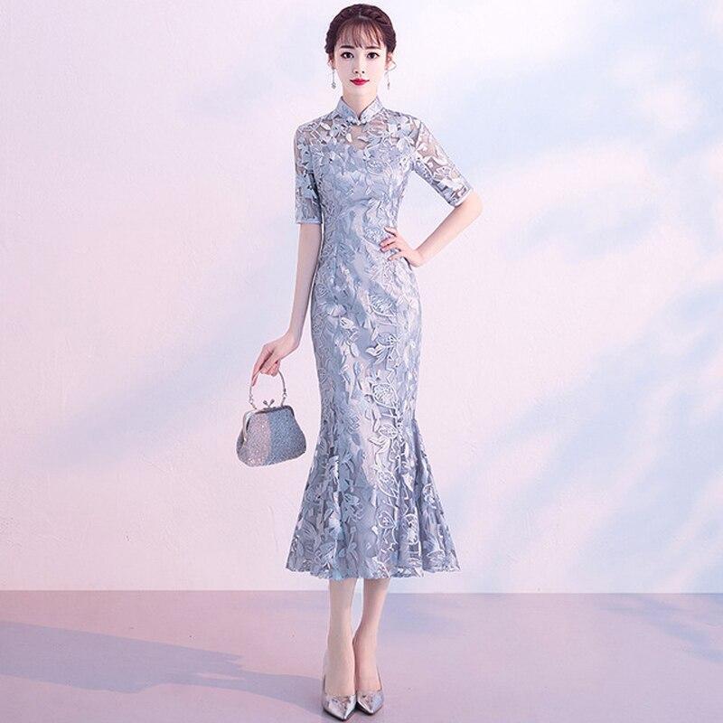 Robe de mariée chinoise grise femme manches courtes dentelle Cheongsam Slim chinois robe traditionnelle femmes Qipao pour la fête de mariage