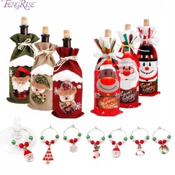 Merry Christmas Decor For Home 2019 Christmas Bottle Cover Wine Glass Charm Christmas Gift Decor Noel 2019 New Year Gift 2020 3