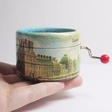 Caja de música con manivela, temática de París, ciudad, La vie en rose