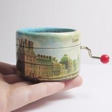 Paris city paper hand crank music box La vie en rose theme