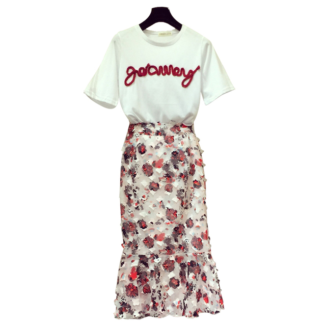 93a48b41c7 Women 2 piece set Summer flower midi skirt and white tee top Red letter crop  tops High waist Sequined skirts