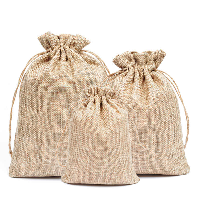 5pcs Natural Jute Burlap Linen Drawstring Gift Bags Christmas Halloween Wedding Birthday Party Candy Box Chocolate Wrapping Bags