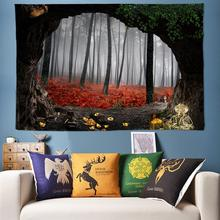 3D Tree Hole Psychedelic Forest Tapestry Wall Hanging Bohemian Decoration Hippie Boho Art Fabric New