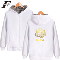LUCKYFRIDAYF 2018 Creativity Print Golden ROSE Fashion Sweatshirt K Pop Unisex Thicker Hoodie Zipper Sweatshirt Winter Warm