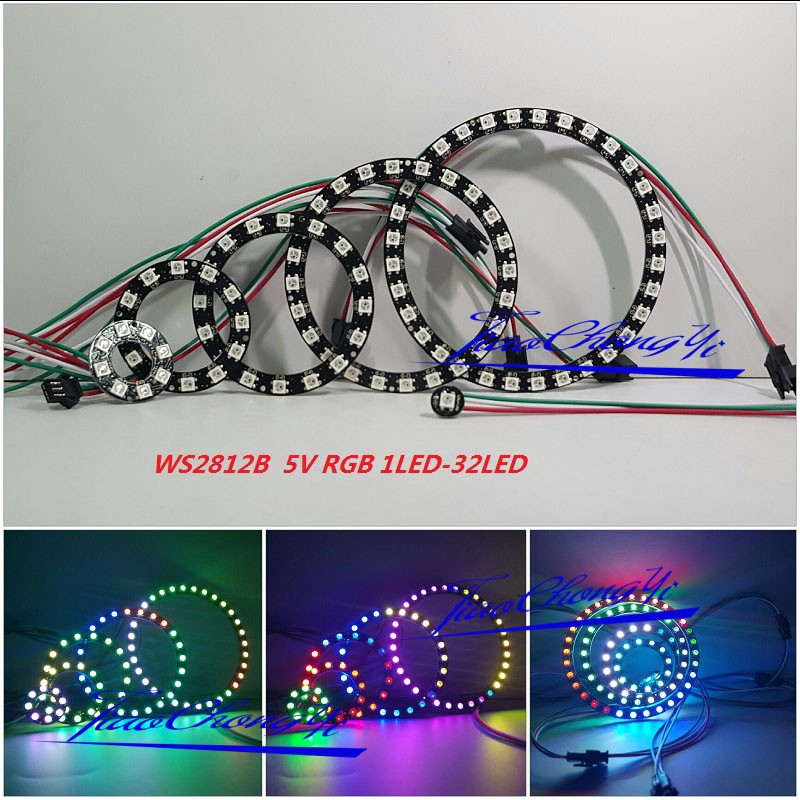 WS2812 5050 RGB LED 1 8 12 16 24 32led Bits Ring Lamp Light with Int image