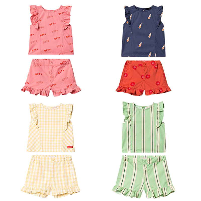 Pre-saIe INS RETRO STRIPES RUFFLES BLOUSE EMERALD/CREAM TC Same Series Girl Baby Print Raglan Sleeves Lace Girl Shorts Kid SuitPre-saIe INS RETRO STRIPES RUFFLES BLOUSE EMERALD/CREAM TC Same Series Girl Baby Print Raglan Sleeves Lace Girl Shorts Kid Suit