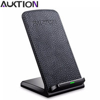 AUKTION Fast Charger Wireless Desktop Charger Pad With Smart Temperature Control For IPhone 8 Samsung Galaxy
