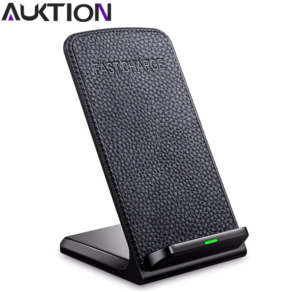 AUKTION Fast Charger Wireless Desktop Charger Pad With Smart Temperature Control for iPhone 8 Samsung Galaxy S8 Plus Charging