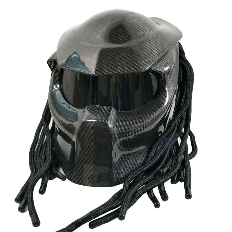 Персонализированные Хищник moto rcycle шлем ручная работа по индивидуальному заказу углеродное волокно стеклопакетами оболочка для Железный ч...