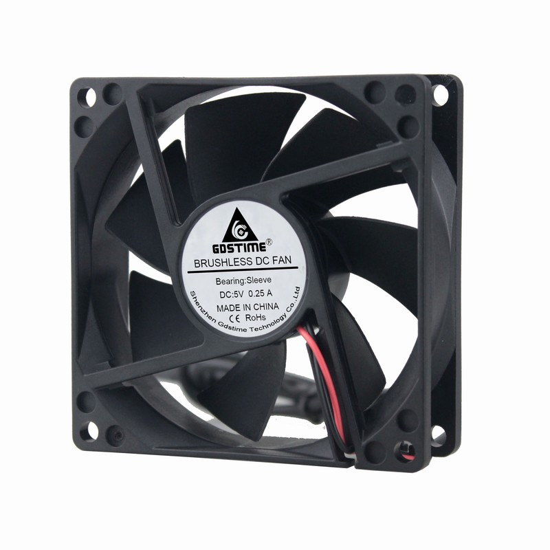 Купить с кэшбэком 2Pcs Gdstime Power Supply USB 80mm x 25mm DC 5V 8025 8cm 80x80x25mm PC Case Heatsink Cooling Fan 80mm*80mm*25mm