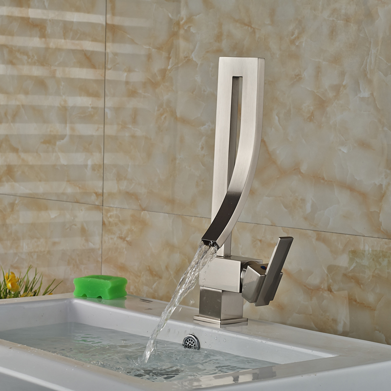 Brushed Nickel Creative Bathroom Sink Mixer Faucet Single Handle Waterfall Deck Mounted Hot and Cold Water