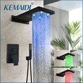 KEMAIDI настенный водопад Душевой гарнитур для ванной комнаты душевая ручная насадка для душа кран дождевой спрей струи кран два Fuction смесител...