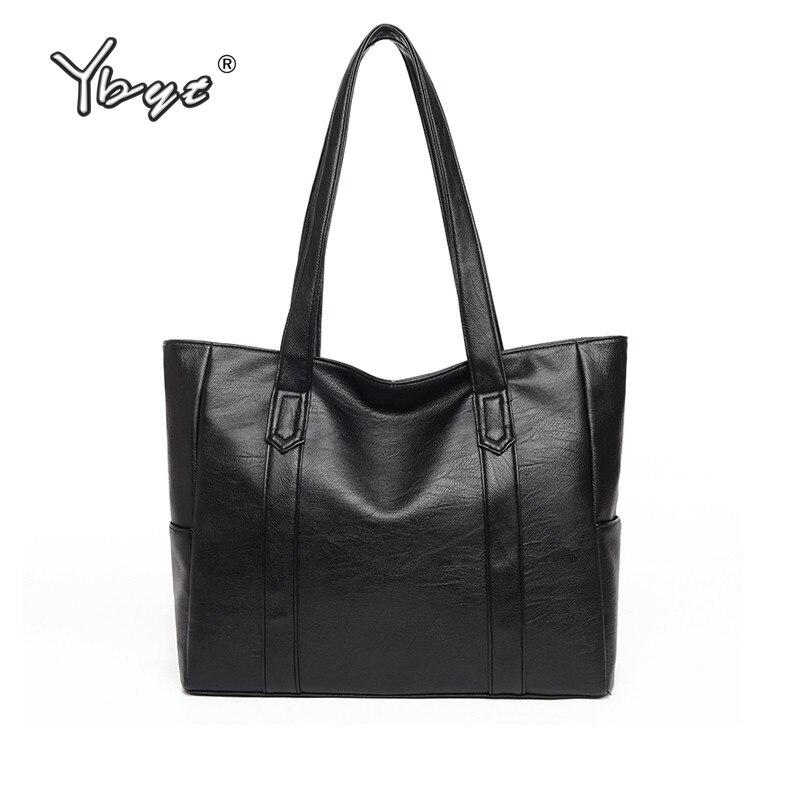 YBYT brand 2019 new joker leisure tote bag large capacity top-handle bags  soft PU leather women luxury handbags shoulder