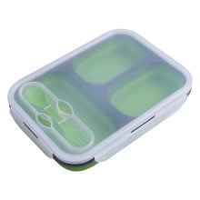 HOT Foldable Microwave Oven Bento Silicone Lunch Box Bento Picnic Food Container(China)