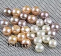 Perla perforata metà pairls liberi, 12-13mm grandi branelli della perla, big size perla coppia, bianco, rosa, viola, materiale dei monili di alimentazione