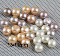 half drilled pearl pairls,12-13mm large pearl beads,big size freshwater pearl pair,white,pink,purple,jewelry material supply