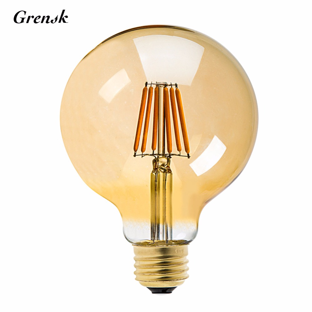 Gold Tint,G125 Globe Lamp,8W 2200K,Vintage LED Filament Light Bulb,E26 E27 Base,110V 220VAC,Decorative Lighting,Dimmable