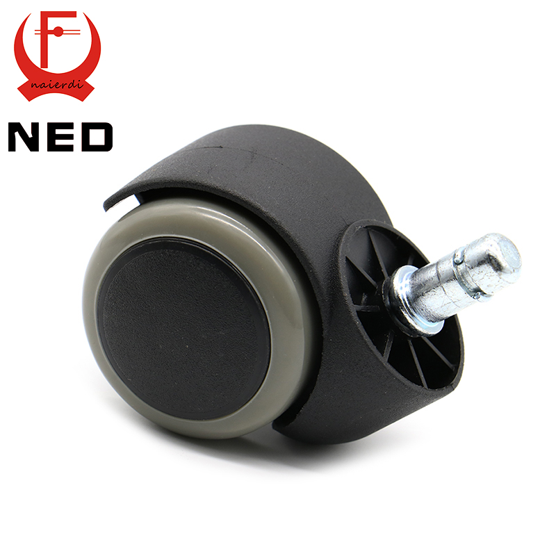 NED Gray 50KG Universal Mute Wheel 2 Replacement Office Chair Swivel Casters Rubber Rolling Rollers Wheels Furniture Hardware 2pcs black plastic 40mm replacement angle brake swivel casters office chair sofa wheels rolling roller caster furniture hardware
