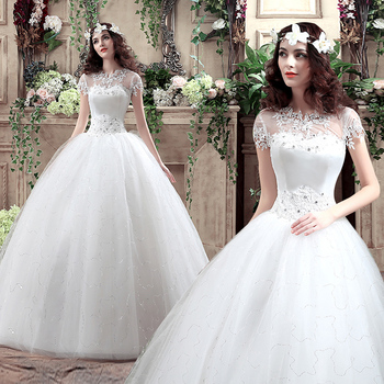 vestido de noiva estilo princesa white ball gown wedding dress 2017stunning crystal appliques princess
