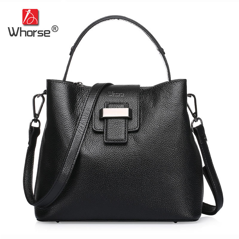 [WHORSE] Brand Luxury Fashion Designer Genuine Leather Bucket Bag Women Real Cowhide Handbag Messenger Bags Casual Tote W07190 luxury genuine leather bag fashion brand designer women handbag cowhide leather shoulder composite bag casual totes