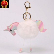 Car Key Super Cute Rainbow Horse Unicorn Fluffy Chain Pendant Bag Jewelry Handbag Accessories Ring Ornament Girl