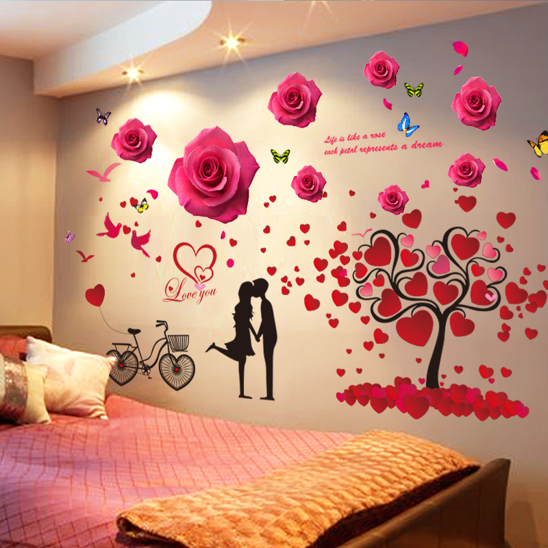 Us 5 52 37 Off Shijuehezi Love Tree Wall Stickers Pvc Material Diy Cartoon Couples Red Roses Wall Decals For Living Room Wedding Decoration In