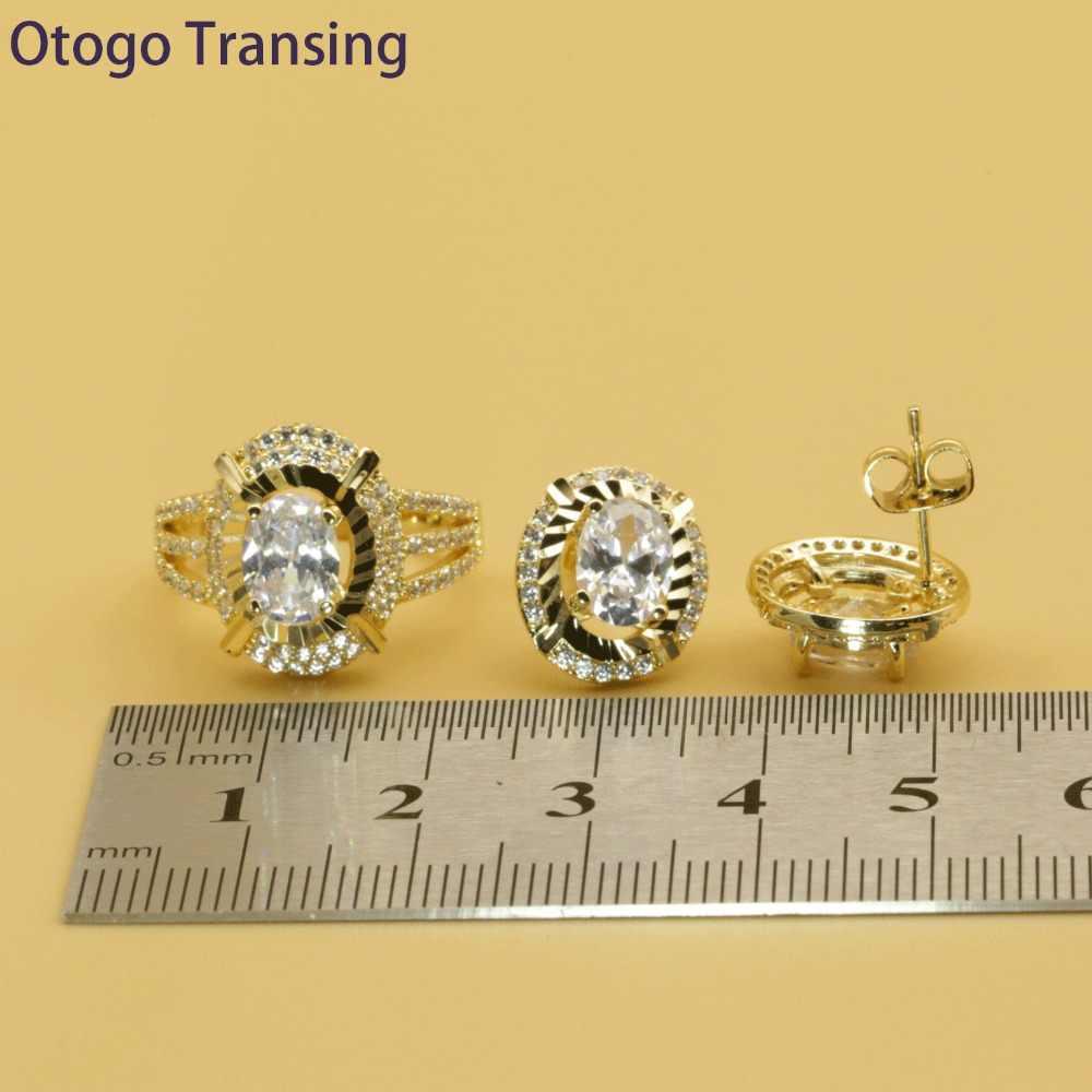 Otogo Transing 2019 Party Schmuck Set Gold Farbe Frauen Mode Charme Weiß Kristall Ring Ohrringe Halskette Armband Blume SET213