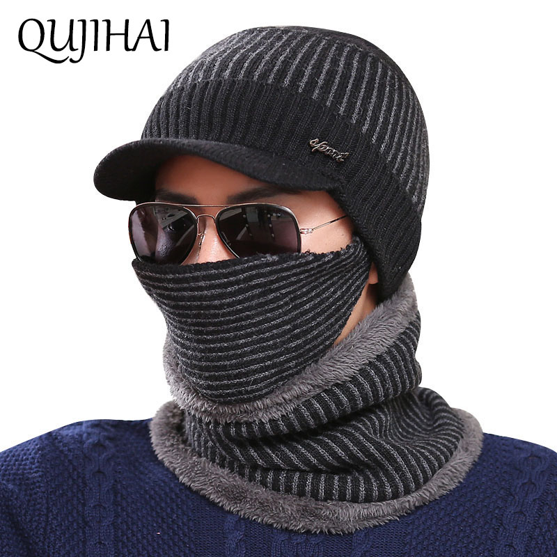 QUJIHAI Winter Hat Men Skullies Beanies Hats For Men Women Wool Scarf Mask Hat Caps 3-Pcs Set Balaclava Beanie Knitted Hat Male beanie beanie cartoon animal hat white kitty pink bow hat children caps skullies