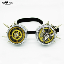 Vintage Retro Victorian Gothic Cosplay Rivet Steampunk Goggles Clock Wheel Gear Glasögon Svetsning Punk