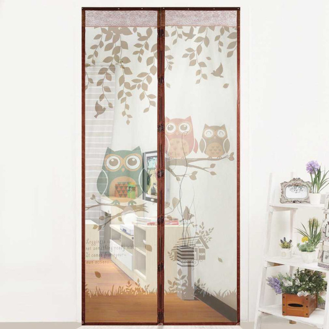 Cute Cartoon Owl Pattern Magnet Mosquito Net Magnetic Anti Curtains Door Prevent Screen