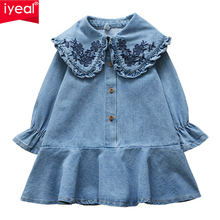 IYEAL Baby Girls Kid Denim Embroidery Peter pan Collar Long Sleeve Dresses Toddler Kids Clothes for 2-7 Years