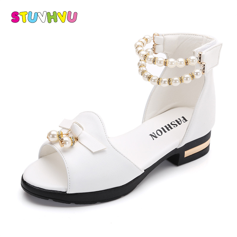 Hot Sale Girls Sandals Summer Children Shoes 2018 Brand Open-Toe Bowtie Pearl Beaded Children Sandals Heels For Teen Girls 27-37