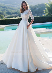 Image 2 - Exquisite Matte Satin Bateau Neckline A line Wedding Dresses With Lace Half Sleeves Bridal Gowns with Pockets