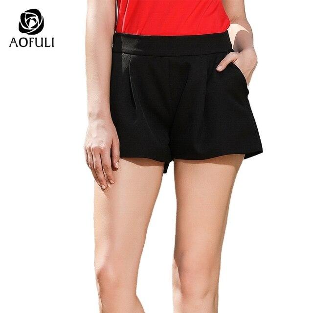 98f0aed72a8 AOFULI L- XXXL 4XL 5XL Black Shorts Women Summer Plus Size Short Pants With Pockets  Street Wear Short Trousers A3534