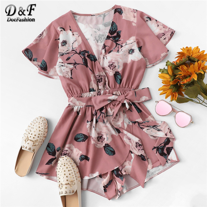 Dotfashion Pink Knot Floral Print Wrap   Romper   Womens Clothing 2019 Vacation V Neck Summer Short Sleeve Mid Waist Beach Playsuit