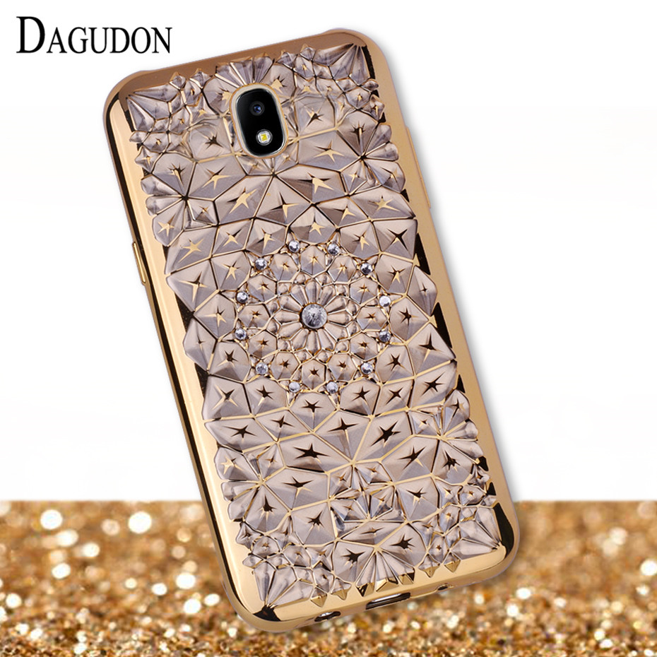 Galleria fotografica DAGUDON Gold plating Case for Samsung galaxy J5 2017 Bling Diamond Soft TPU Silicone Phone Cases for Samsung J5 2017 Case j530F