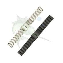 하이 엔드 블랙 실버 스테인레스 스틸 시계 스트랩 23mm 25mm 플랫 타입 팔찌 스테인레스 스틸 시계 밴드